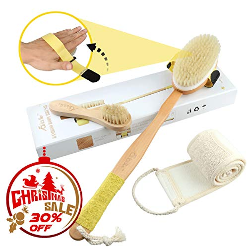 Dry Brushing Body Brush Set, Includes Loofah Back Scrubber, Natural Boar Bristle Bath Shower Brush with Long Handle and Face Brush for Skin Exfoliating