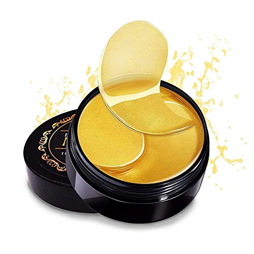 Pure 24K Gold Eye Mask with Collagen and Snail,Under Eye Patches,Under Eye Bags Treatment,Under Eye Mask for Puffy Eyes,Anti-Wrinkle,Undereye Dark Circles,Moisturize Anti Aging,Gel Pads 60 PCS Unisex (Snail Collagen Mask)