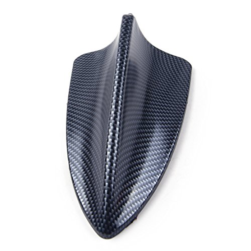 CITALL Carbon fiber style car exterior shark fin shape adhesive roof decorative antenna dummy ()