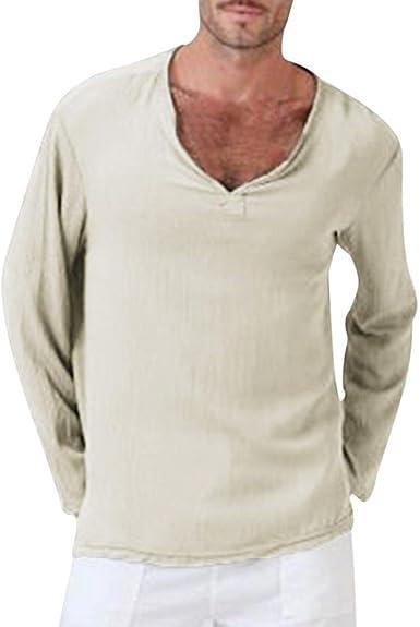 Mens Long Sleeve Casual T-shirts V-Neck Cotton Linen Summer T-Shirt Hippie Shirt
