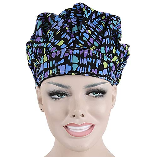 Doctor Classic Scrub Hat Adjustable Sweatband Bouffant Cap for Women Ponytail (Print 38)