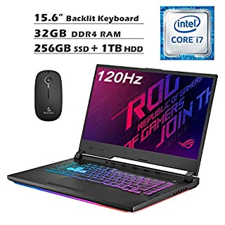 2020 Asus ROG 15.6 Inch 120Hz FHD 1080P Gaming Laptop| Intel 6-Core i7-9750H up to 4.50 GHz| GTX 1650 4GB| 32GB RAM| 256GB SSD (Boot) + 1TB HDD| Backlit KB| Win 10 + NexiGo Wireless Mouse Bundle