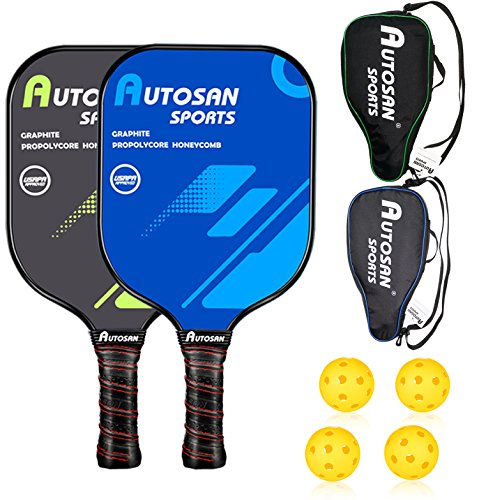 AUTOSAN Pickleball Paddle Graphite - Set with Pickleball Racket & 2 Pickleballs | Pickleball Racquet Lightweight Ultra Cushion Grip USAPA Approved | Carbon Fiber Pickleball Paddle PP Honeycomb Core (Honeycomb Kit)