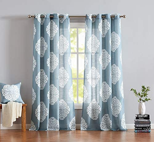 Treatmentex White and Blue Semi-Sheer Curtains for Living Room 108 Floral Medallion Print Window Panels Grommet Top 2 Pc