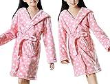 Girl Heart Dots Flannel Bath Robe Children Homewear Pajamas (S, Style-1)
