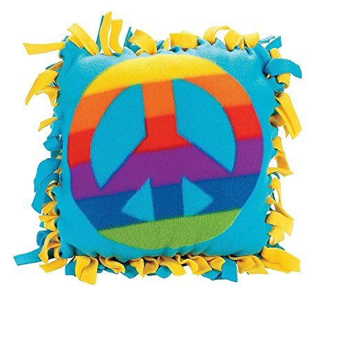 Bargain World Fleece Peace Sign Tied Pillow Craft Kit (With Sticky Notes) ()