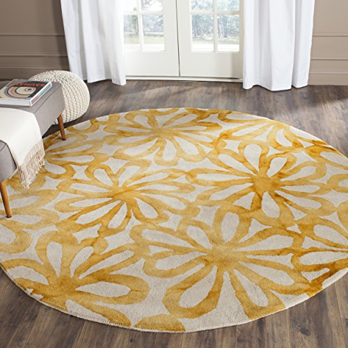 (Safavieh Dip Dye Collection DDY527M Handmade Modern Abstract Floral Watercolor Beige and Gold Premium Wool Round Area Rug (7' Diameter))