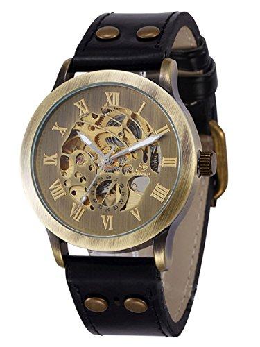 Alienwork Retro mechanische Automatik Armbanduhr Skelett Automatikuhr Uhr vintage bronze braun schwarz Polyurethan W9269-01