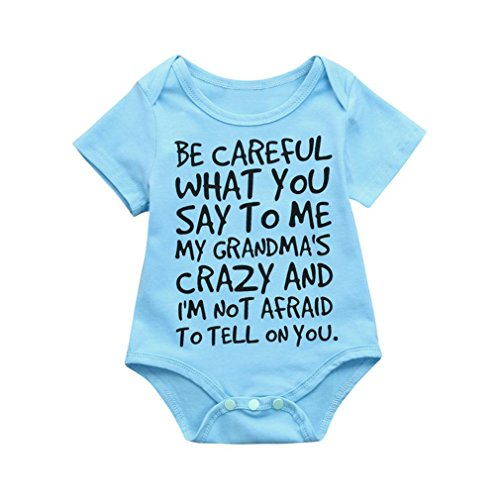 Winsummer Funny Be Careful What Letter Infant Newborn Baby Boy Short Sleeve Bodysuit Romper Outfit Summer Clothes (Blue, -