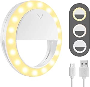 Ring Light Laptop, MCHEETA Selfie Ring Light Clip on Rechargeable, Portable Phone Ring Light for iPhone/Computer/PC/Smartphone