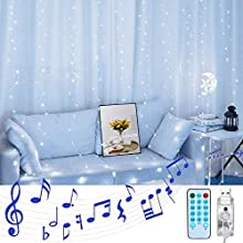 LoveNite Curtain String Lights with Voice Activated, 300 LED Window Music Fairy Lights String USB Powered Remote for Christmas Wedding Party Indoor Outdoor Home Decor (Cool White)