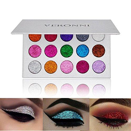 Veronni Makeup Cosmetic 15 Colors Pressed Glitter Powder Eyeshadow Shimmer Pigment Eye Shadow Palette Long Lasting Eyeshadow