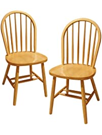 Attractive Winsome Wood Windsor Chair, Natural, Set Of 2
