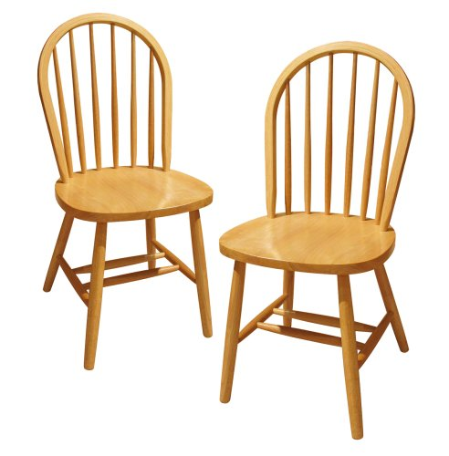 Wooden Dining Table Set - Winsome Wood Windsor Chair, Natural, Set of 2