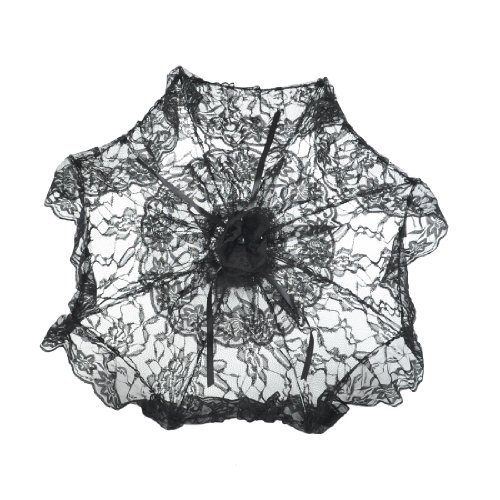 Topwedding 24″ Deluxe Bridal Lace Parasol Wedding Umbrella Favors,Black