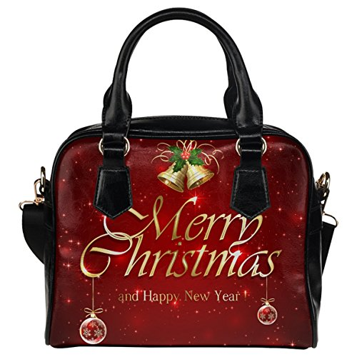 CASECOCO Red Starry Merry Christmas Women's PU Leather Purse Handbag Shoulder Bag