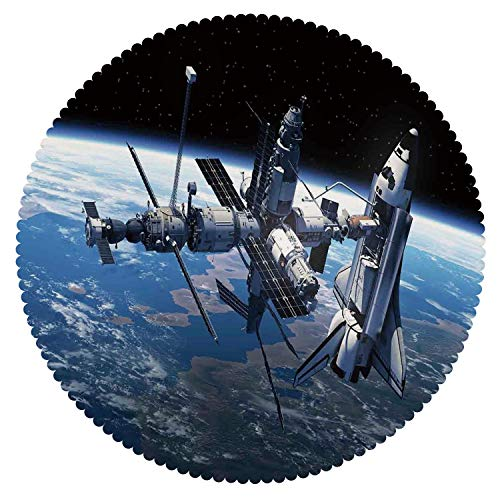 Dora Globe Adventure - iPrint Stylish Round Tablecloth [ Outer Space Decor,Space Shuttle and Station View Cosmonaut Adventure on The Myst Globe Orbit Off,Blue Grey Black ] Fabric Kids Home Tablecloth Designs