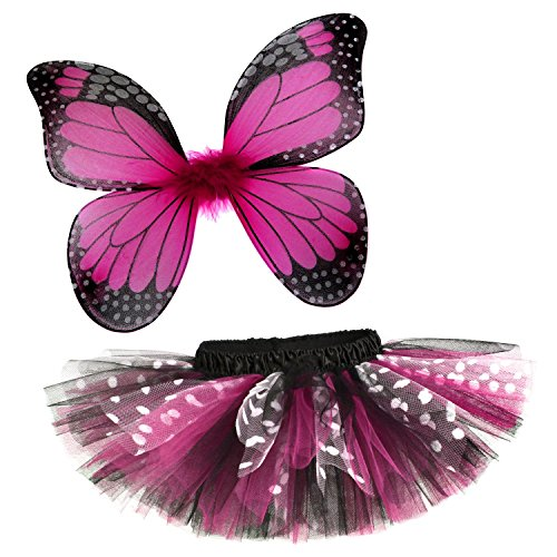 Rockstar Tutu Baby Girl's Butterfly Tutu and Wings Costume Set -Hot Pink-6-12 Months (15-18