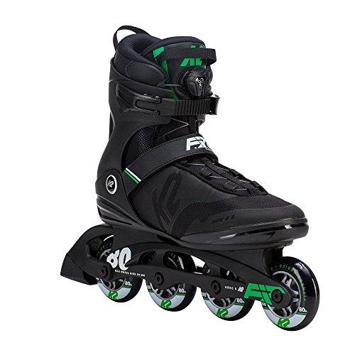 (K2 Skate Men's F.I.T. 80 Boa Inline Skate, Black Green, 10.5)