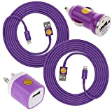 2X 6FT Lightning Heavy Duty Cables w/ Wall & Car Adapters for iPhone 6S/6Plus -Ple