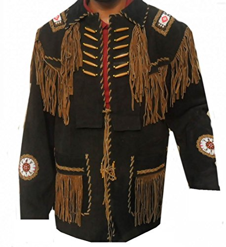Kfire Leather with fringed Bones and beaded in Black West...
