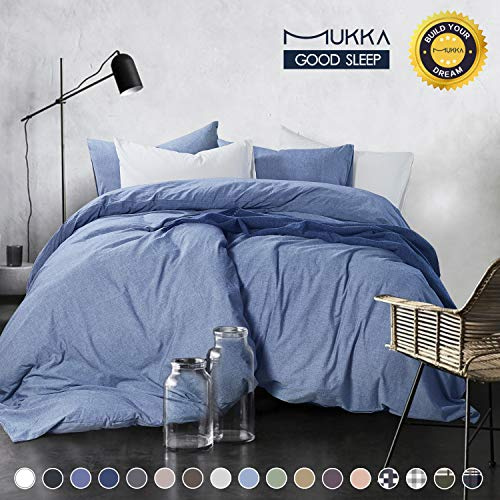 MUKKA 3-Piece Cotton Duvet Cover Set Queen,100% Egyptian Natural Washed Cotton Duvet Cover Light Blue-Size 90X90 - Denim Duvet Cover & Sham Set with YKK Zipper, Ultra Soft, Breathable and Easy Care
