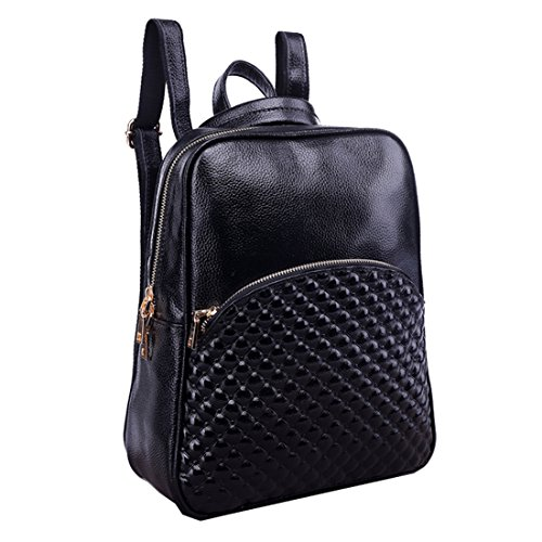 Missmay 2015 Spring Women's Soft Genuine Leather Purse Backpack Cowskin Casual Sports Smooth Black by MissMay