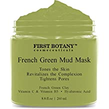 French Green Mud Mask 8.8 fl oz for men and women - an anti aging face mask, pore minimizer, blackhead remover, reduces acne scars, clarifying hair mask and gentle facial cleanser