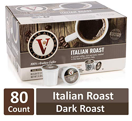 Italian Roast for K-Cup Keurig 2.0 Brewers, 80 Count, Victor Allen's Coffee Dark Roast Single Serve Coffee Pods