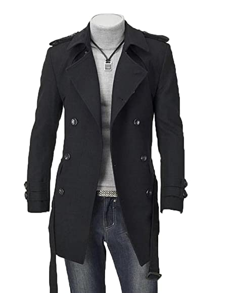Mens Winter Double Breasted Woolen Trench Pea Coat Long ...