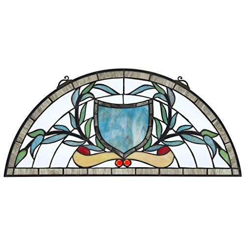 Gothic Stained Glass Windows - Stained Glass Panel - Heraldic Shield Demi-Lune Stained Glass Window Hangings - Window Treatments