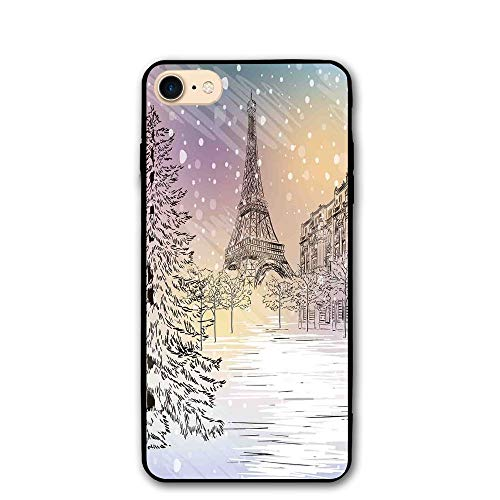 Haixia iPhone 7/8 Protective Case Cover 4.7 Inch Winter Decorations Image of Stormy Winter Day in Paris Streets Eiffel Tower Europe Scene Full Pink White (The Oc Best Scenes)