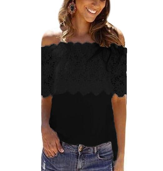 ISSHE Blusas Manga Corta Encaje Fuera del Hombro Blusa Gasa Fiesta Camisas Mujer Camisetas Elegantes Dama Bonitas Blusas Top para Señoras Blusones Anchas ...