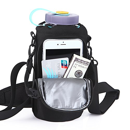 Insulated Water Bottle Holder With Detachable Adjustable Shoulder Strap,32 oz Bottle Carrier Bag With Cell Phone Pouch for Daily walking,Biking,Hiking,Travel,and Outdoor Sport Events(Exclude Bottle) by OYATON (Image #2)