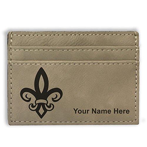 Money Clip Wallet - Fleur de Lis - Personalized Engraving Included (Light Brown)