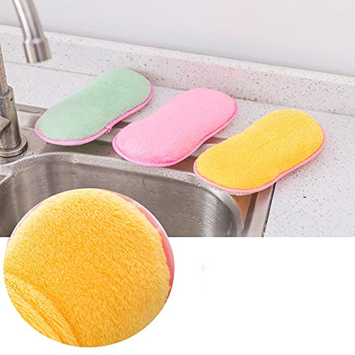 Euone Dishwashing Sponge Clearance , 3Pcs Cloth Fiber Washing Towel Magic Kitchen Cleaning Wiping Rags ()
