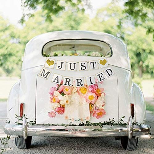 JUST MARRIED Banner Car Decorations - Gold Glitter Just Married Sign Garland for Bridal Shower Decorations, Photo Props and Car Decorations]()