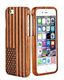 SunSmart Unique Handmade Genuine Natural Wood Wooden Hard bamboo Case Cover for iPhone 6 plus 5.5'' (rosewood-the stars and stripes)