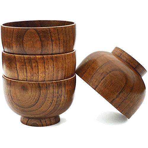 Cospring Handmade Wood Bowl, Mug, for Rice, Soup, Dip, Coffee, Tea, Decoration (4PCS Jujube Bowls, S: 4-1/8 inch Dia by 2-5/8 inch High)