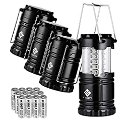 Etcitty 4 Pack LED Camping Lantern Portable Flashlight with 12 AA Batteries - Survival Kit for Emergency, Hurricane, Power Outage (Black, Collapsible) (CL10)