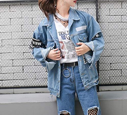 Hole Primavera Joker Otoño Jacket CWJ Denim Traje Personalidad y Carta L Azul Mujeres Tops de Moda zpgdqT