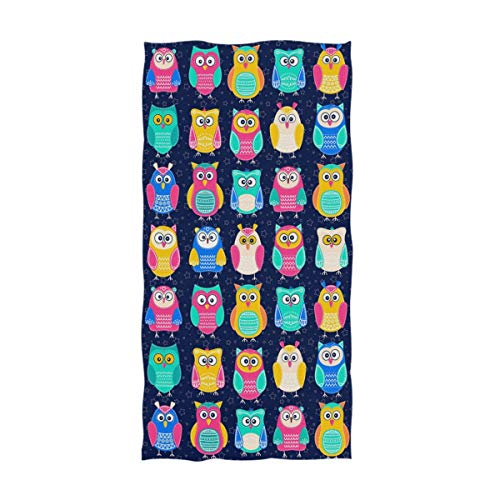 Naanle Colors Cut Cartoon Owls Pattern Soft Bath Towel Highly Absorbent Large Hand Towels Multipurpose for Bathroom, Hotel, Gym and Spa (16