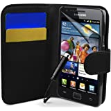 Supergets® Samsung Galaxy S2 Premim Qualiy Wallet Flip Case Covers, Screen Protector, Stylus And Polishing Cloth