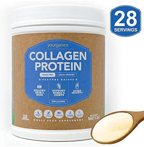 Bovine Collagen Protein Powder YOURGANICS   Keto & Paleo Friendly, Hydrolyzed Collagen Peptides   Grass-Fed, Pasture Raised, Non GMO, Non Dairy, Gluten & Sugar Free, Unflavored (20oz Bottle)