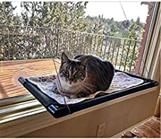 Cat Bed Window Perch Hammock Sunny Seat for Lager Cats Perches Furniture Two Kitty Window Sill Seat Window Mounted...