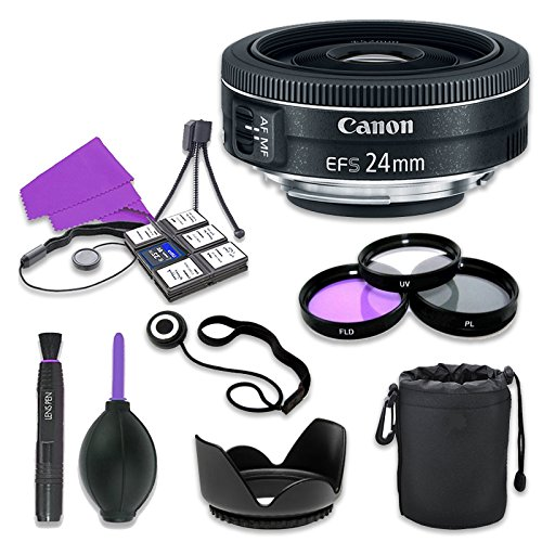 Canon EF-S 24mm f/2.8 STM Lens for Canon Digital SLR Cameras with 52mm Filter Kit (UV, CPL, FLD) + Accessory Bundle (12 Items)
