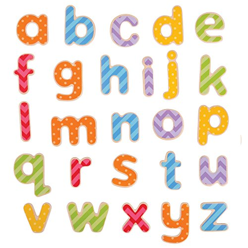 (Bigjigs Toys Educational Wooden Magnetic Letters - Lowercase, Multicolored)