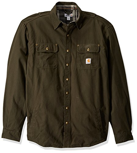 Carhartt Men's Big and Tall Big & Tall Weathered Canvas Shirt Jac Snap Front, peat, Large