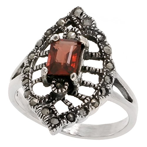 (Sterling Silver Marcasite Marquise-shaped Ring, w/ Emerald Cut Natural Garnet, 1 inch (26 mm) wide, size 8.5)