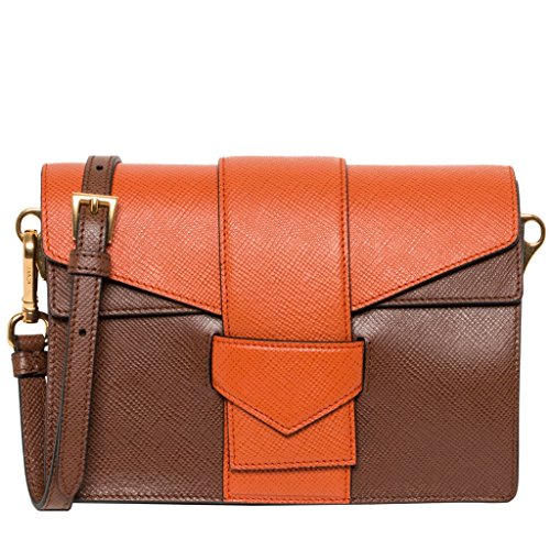 Prada Women's Saffiano Bi-color Shoulder Bag Brown Orange
